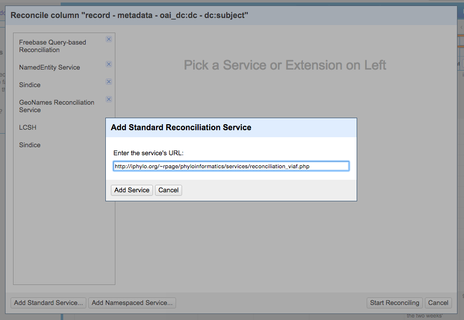 Figure. Screenshot of the Add Standard Reconciliation Service box in OpenRefine
