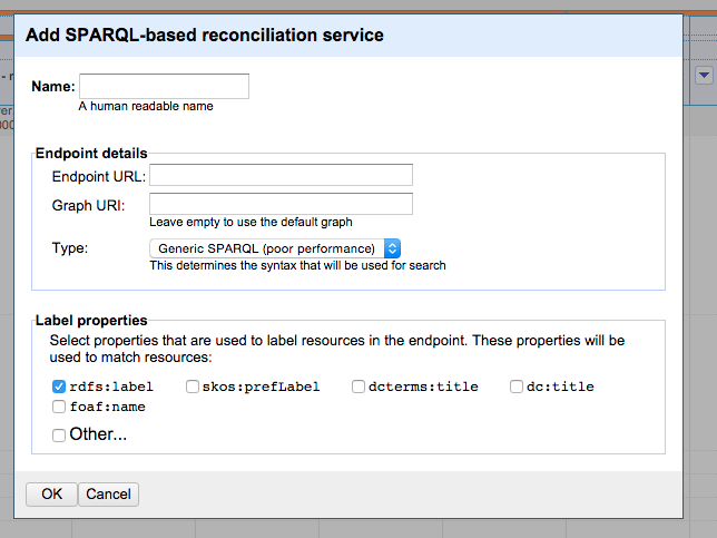 Figure. Screenshot of the SPARQL-based reconciliation service interface in LODRefine