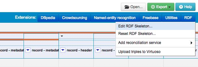 Figure. Screenshot of the Edit RDF Skeleton option in the OpenRefine DERI RDF Extension Menu