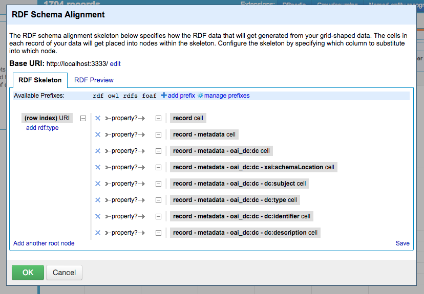 Figure. Screenshot of OpenRefine DERI RDF Schema Alignment Interface