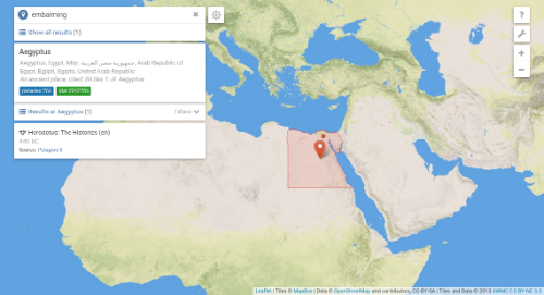 Figure.  A search for the term embalming returns a single result -The Histories by Herodotus. The map shows that term occurs in Egypt.