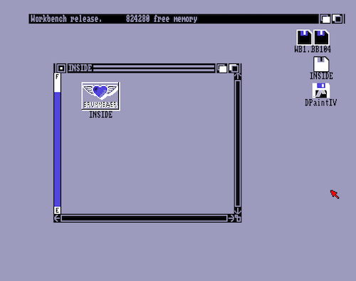 A view of the Amiga desktop, light mauve color, 90s-style floppy disk icons with labels as disknames