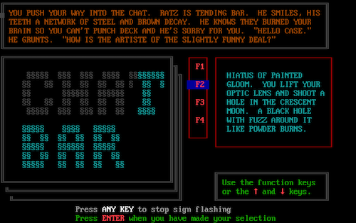 An interactive moment in Neuromancer in which you may talk to the bartender.