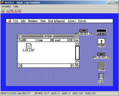 Viewing files in the KEGS Apple IIgs Emulator