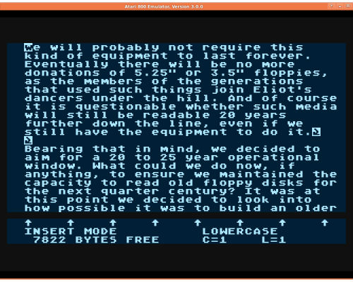 AtariWriter document rendered in Atari800 emulator