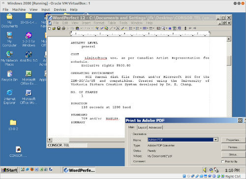 Converting Wordstar to PDF via WordPerfect 12 running on Windows 2000 in Virtualbox