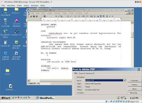 Converting Wordstar to PDF via WordPerfect 12 running on Windows 2000 in Virtualbox