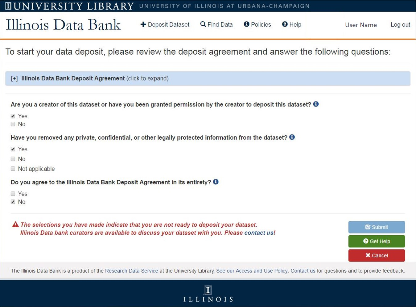 screenshot of deposit upload form