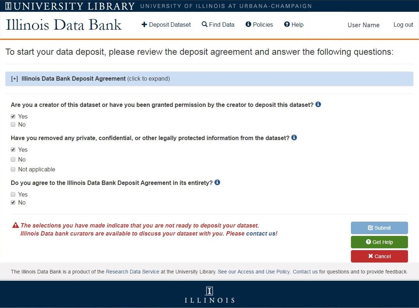 screenshot of deposit upload form