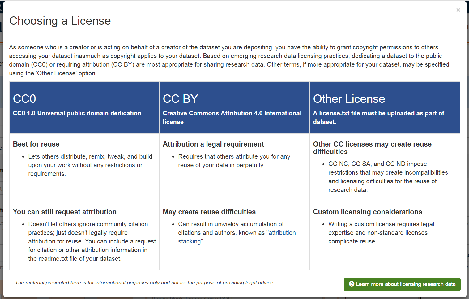 screenshot of license options on upload form