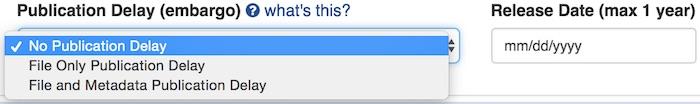 screenshot of embargo options on upload form