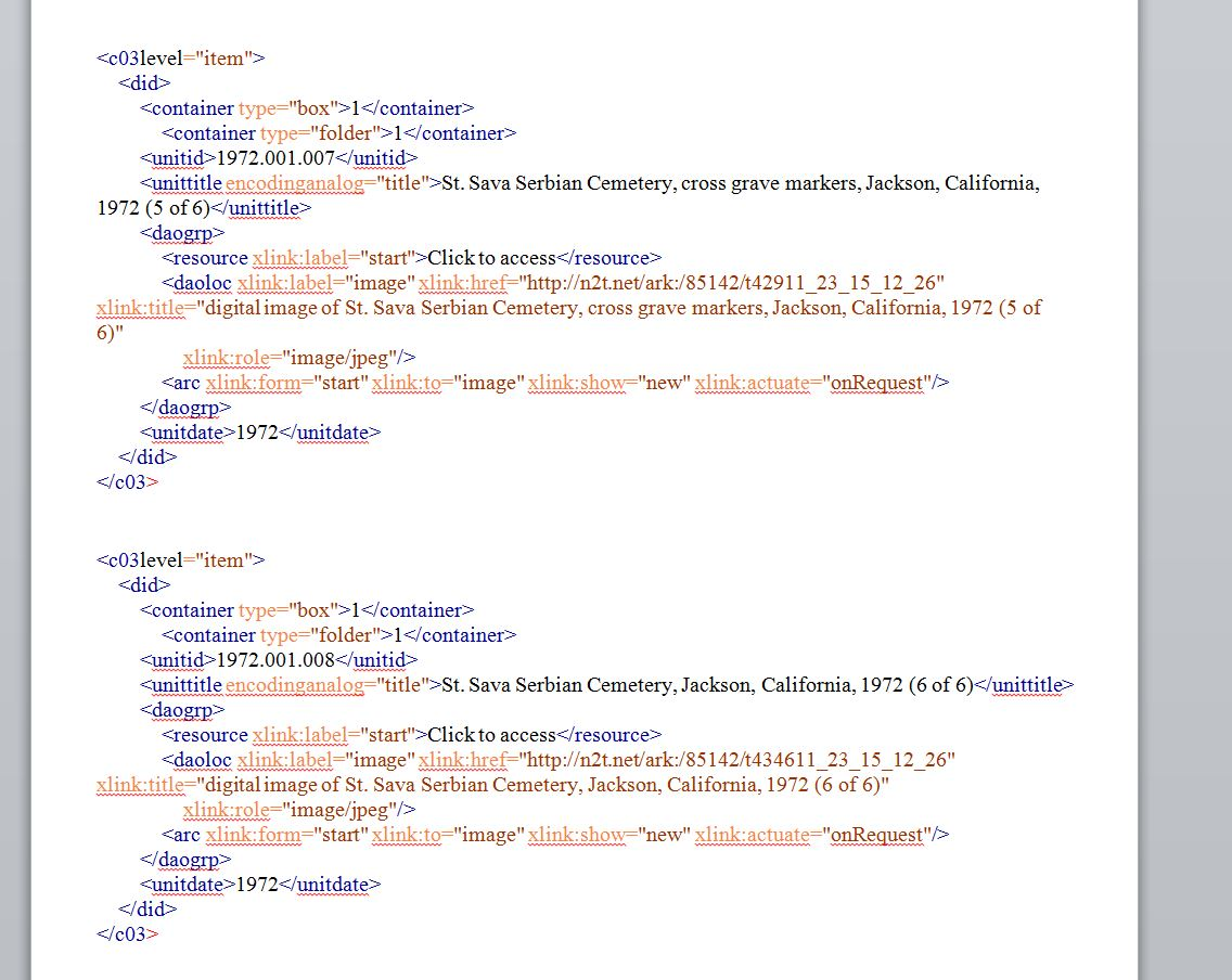screenshot of sample completed XML container in a Word document