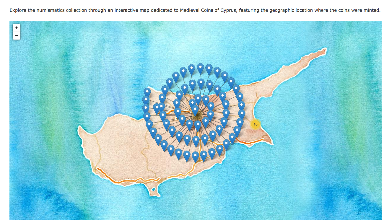 The visual interactive map from the Cypriot Medieval Coins: History and Culture Library