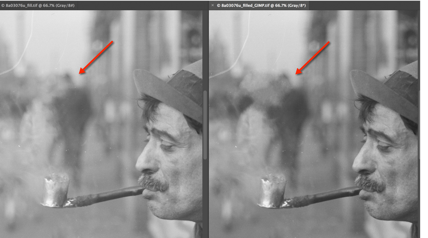 A comparison of how well Photoshop and GIMP healed the hole in two shadowy heads in the background of Figure 16.