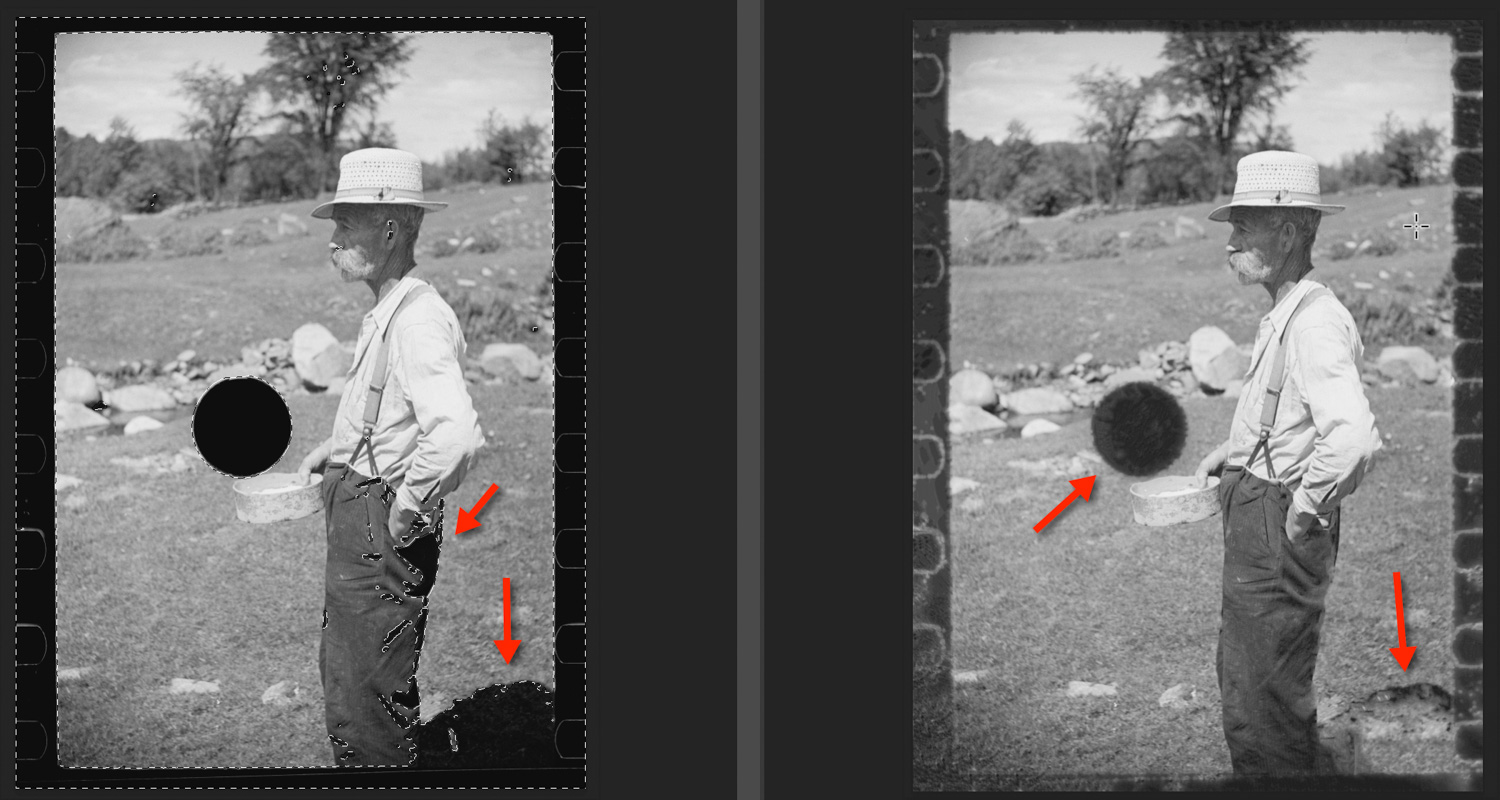 On the left, a photograph of a man standing in a field with a punch mark in the background. On the right, the same image with very imperfectly-refilled holes.