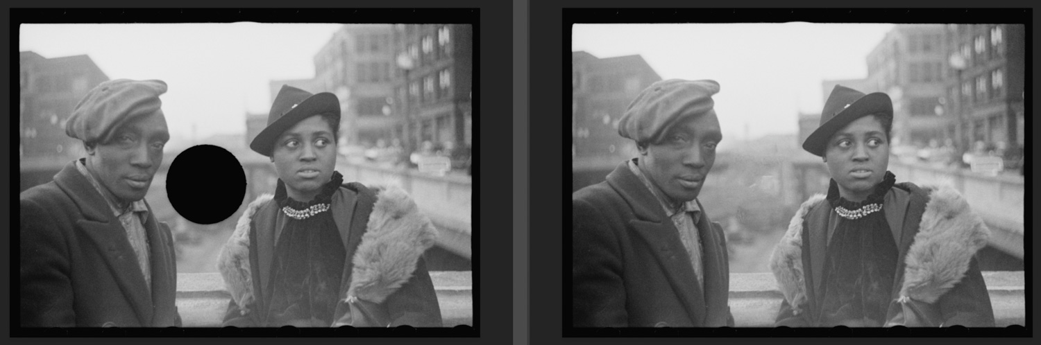 Photograph of black man and woman apparently standing on a ciy bridge. Hole punched in the background appears healed in the comparison on the right.