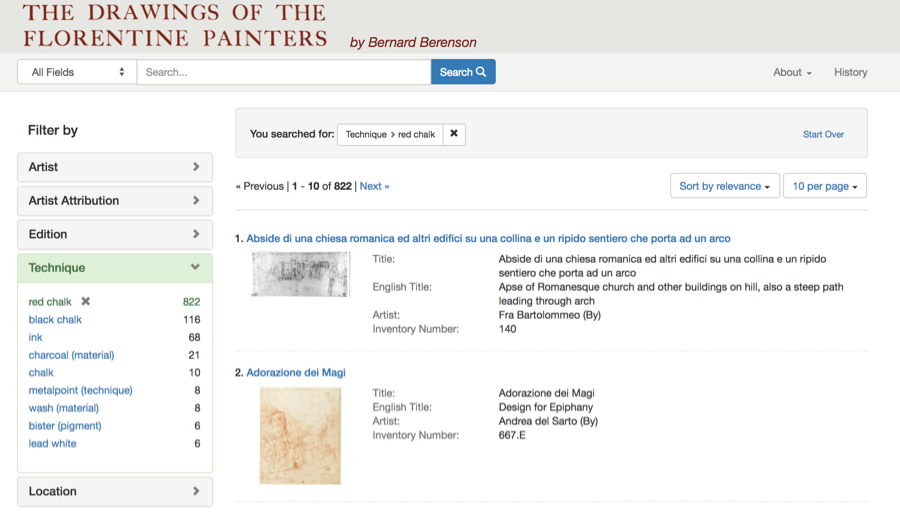 Figure 8: User interface for the Drawings of the Florentine Papers http://florentinedrawing.itatti.harvard.edu