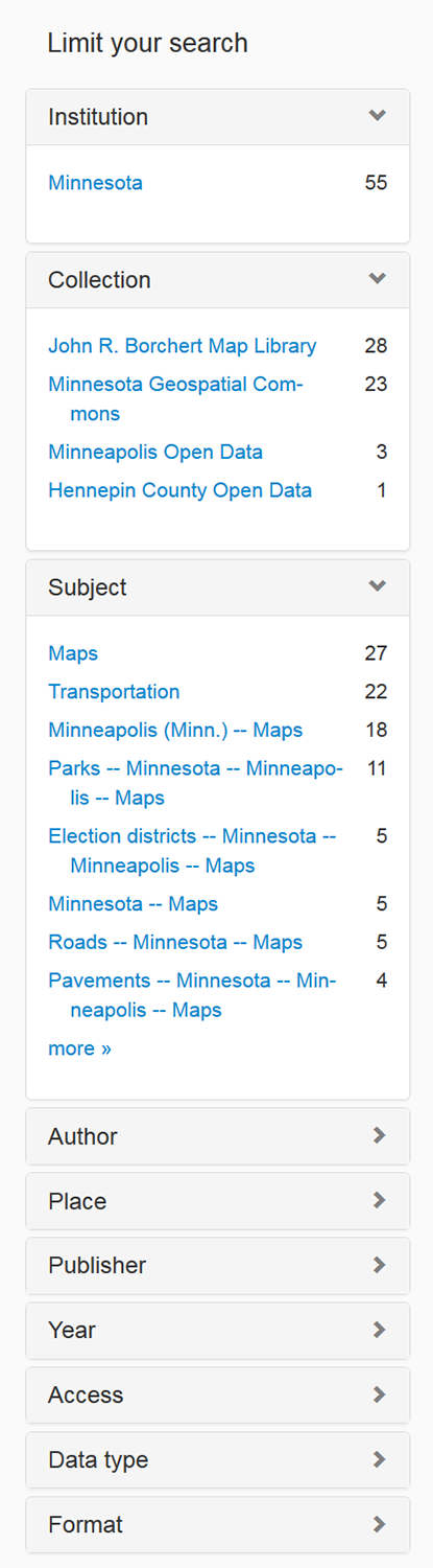 Screenshot of results page facets used during testing