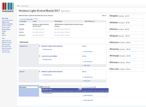 Wikidata editor screenshot showing autocomplete