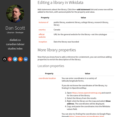 Screenshot of web page with help for describing libraries