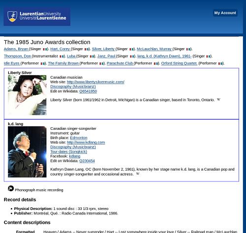 Screenshot of catalogue displaying infocards for Liberty Silver and k.d. lang