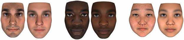 Figure 4. Actual faces, left, and ML facial reconstructions from genomic data, right (Lippert et al. 2017, fig. 2)