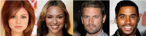 Figure 5. Images of fake celebrities generated by a GAN (Karras et al. 2018, fig. 10)