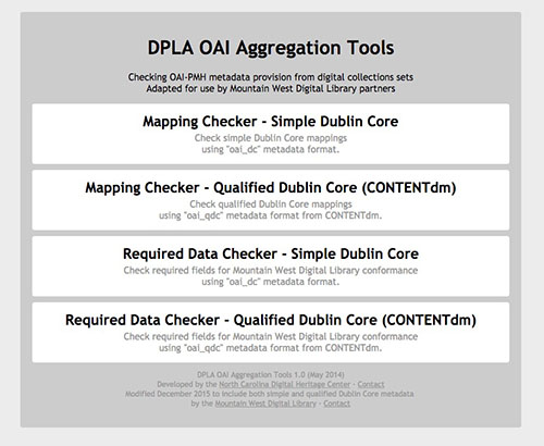 A menu showing the Mapping Checker Simple Dublin Core, the Mapping Checker Qualified Dublin Core for CONTENTdm, the required data checker for simple Dublin Core, and the required data checker for Qualified Dublin Core for CONTENTdm