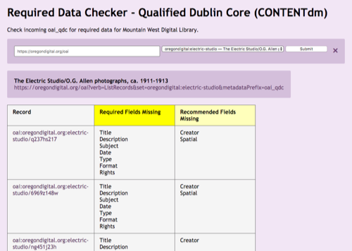 Required data checker for qualified Dublin Core for CONTENTdm for Oregon Digital is showing that all the required data is missing as is the recommended data