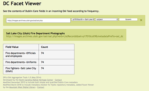 A screenshot of the DC facet viewer response page in which it shows the URL of the OAI PMH feed from which it has retrieved fields and is showing the field values and counts to indicate each subject is used 74 times