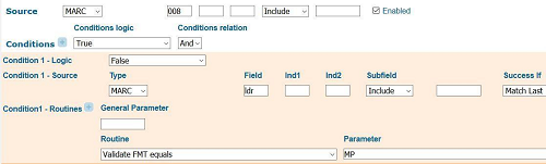 Figure 6. First part of 008/22 (Target audience) norm rule showing the condition that checks to make sure the LDR/06 (Type of record) format does not equal maps using Ex Libris' internal abbreviations for record types where MP = LDR/06 (Type of Record) e or f.