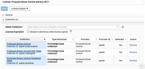 Figure 1. License of ProQuest Ebook Central contains three linked collection. The script will look at the collections linked in every current license.