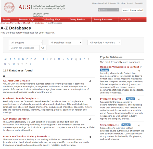 Figure 5. Our new Database A-Z page. Users can filter by subject or database type (abstract-only or full-text).