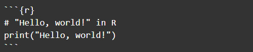 The R code snippet is denoted between the ``` markers.