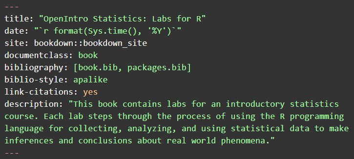 YAML Front-matter for the index.rmd file of an OER Project