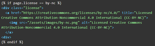 Jekyll Includes example of an HTML element for an article license wrapped in conditional logic