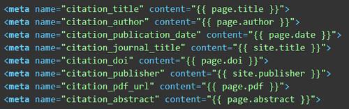 Google Scholar Metadata Example