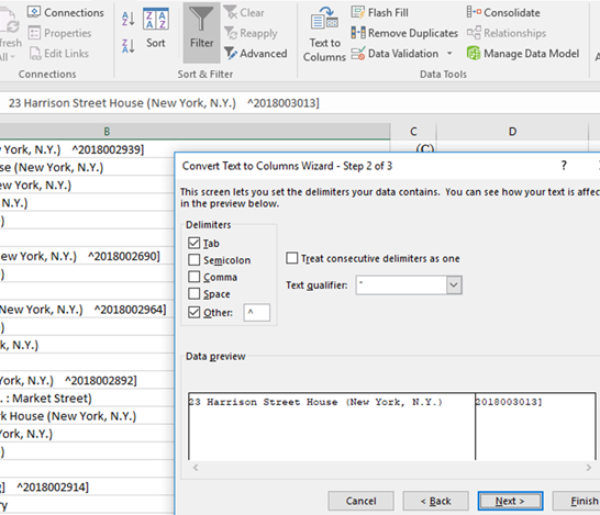 Figure 4. Isolate the control numbers in Excel using Text to Columns Wizard