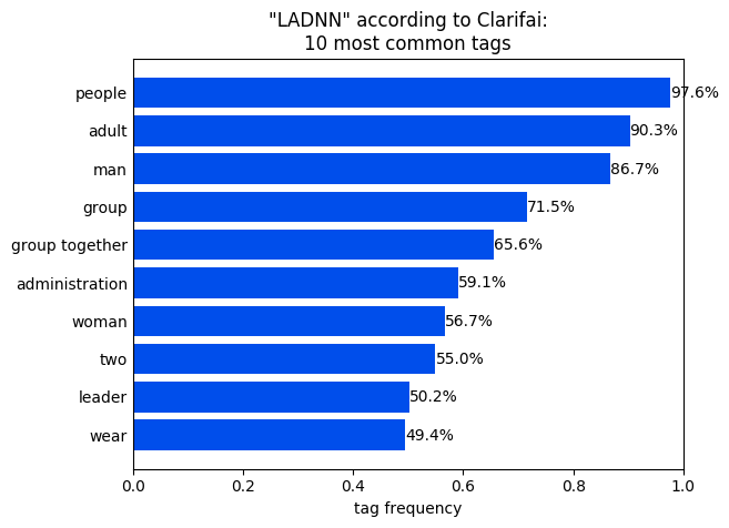 Figure 3. 'LADNN' according to Clarifai: 10 most common tags