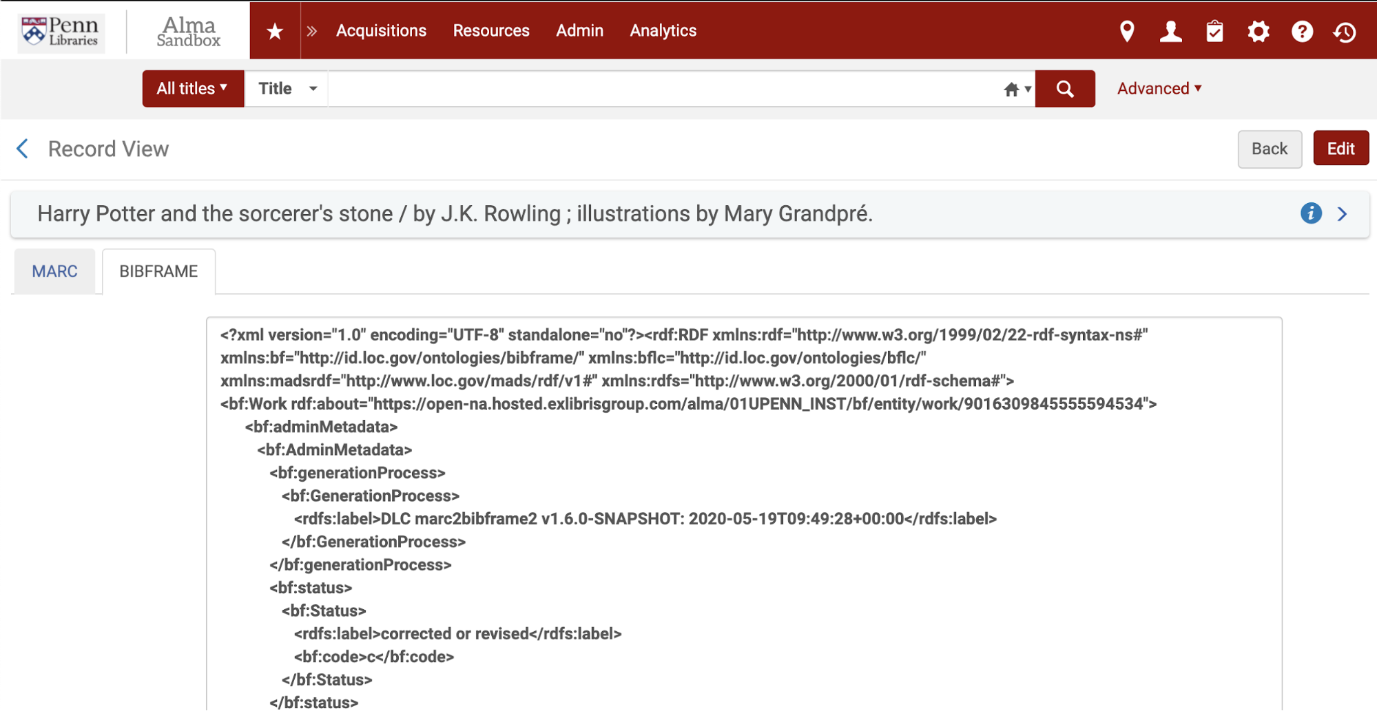 "Figure 3. A screenshot of the linked data tab entitled ""BIBFRAME"" in the University of Pennsylvania's Alma Sandbox. Source: Alma"