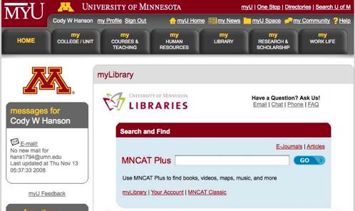 Figure 2:  The MyLibrary tab on the MyU Portal.