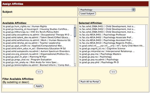Figure 3:  Interface for Assigning Affinity Strings to Research QuickStart Subjects in LibData.