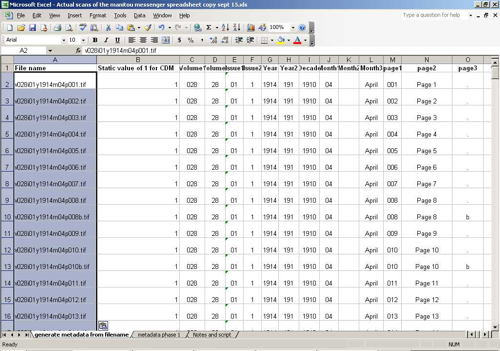 Spreadsheet with filenames input