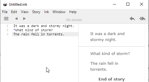 Inklewriter screenshot
