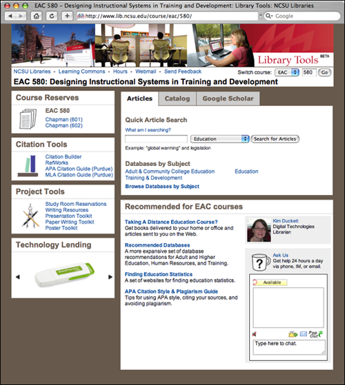 An example course views page