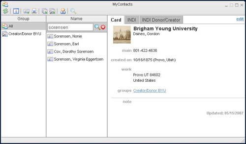 Figure 5. View of vCard data in the MyContacts tool