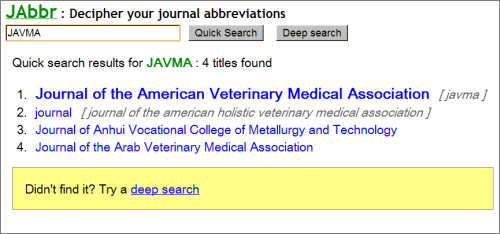 Screenshot of JAbbr
