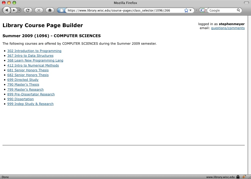 navigation screen for attaching course metadata to a  Library course page