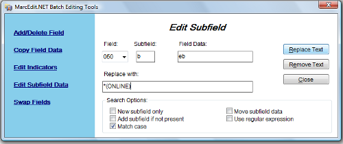 Figure 3: MarcEdit's Edit Subfield to change call number screenshot