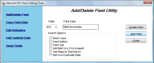 Figure 4: MarcEdit's Add/Delete Field Utility